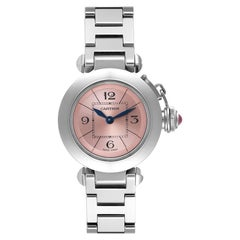 Cartier Miss Pasha Steel Pink Dial Ladies Watch W3140008 Papers