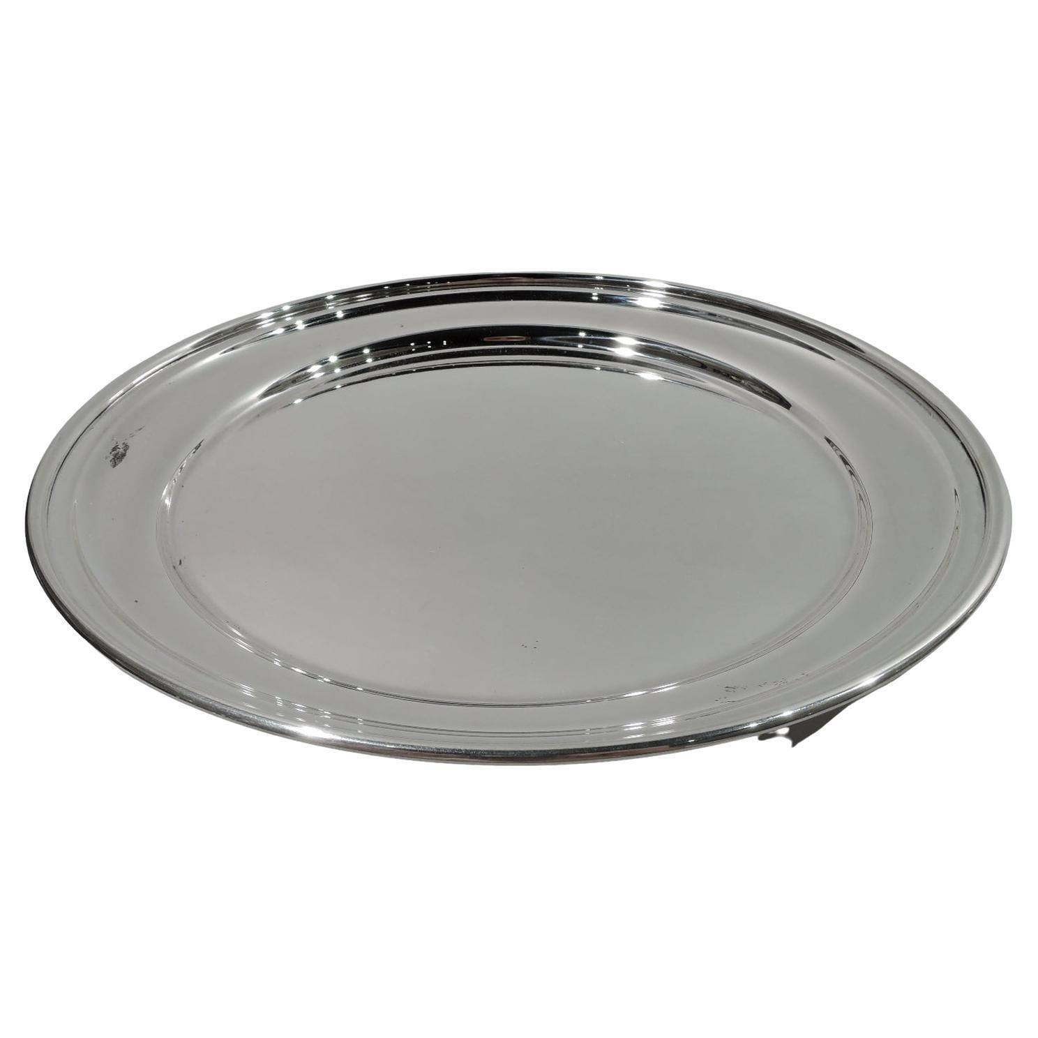 Cartier Modern Deep and Round Sterling Silver Serving Tray