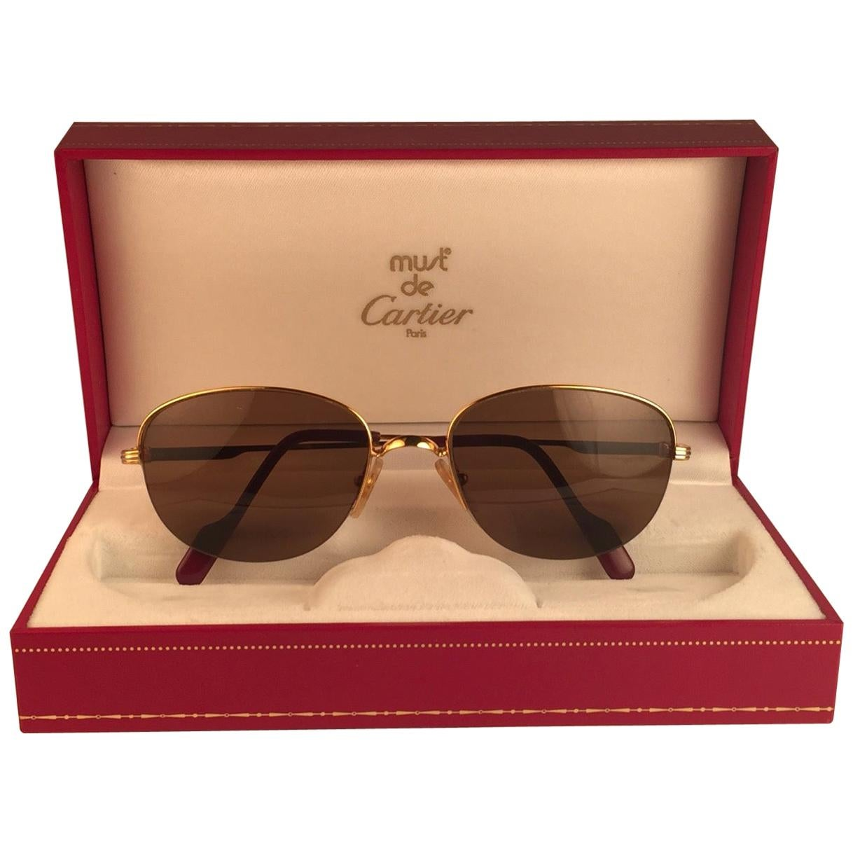 Cartier Montaigne Half Frame 55mm Sunglasses 18k Gold Sunglasses France
