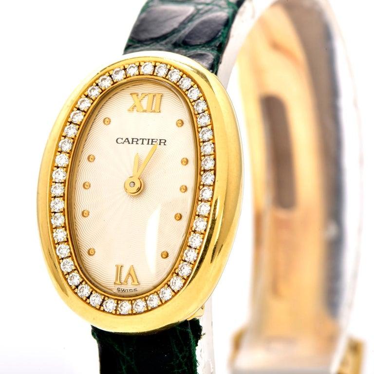 Modern Cartier Montre Baignoire Diamond 18K Gold Vintage Ladies Watch For Sale