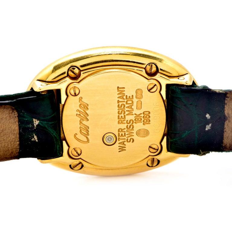 Cartier Montre Baignoire Diamond 18K Gold Vintage Ladies Watch In Excellent Condition For Sale In Miami, FL