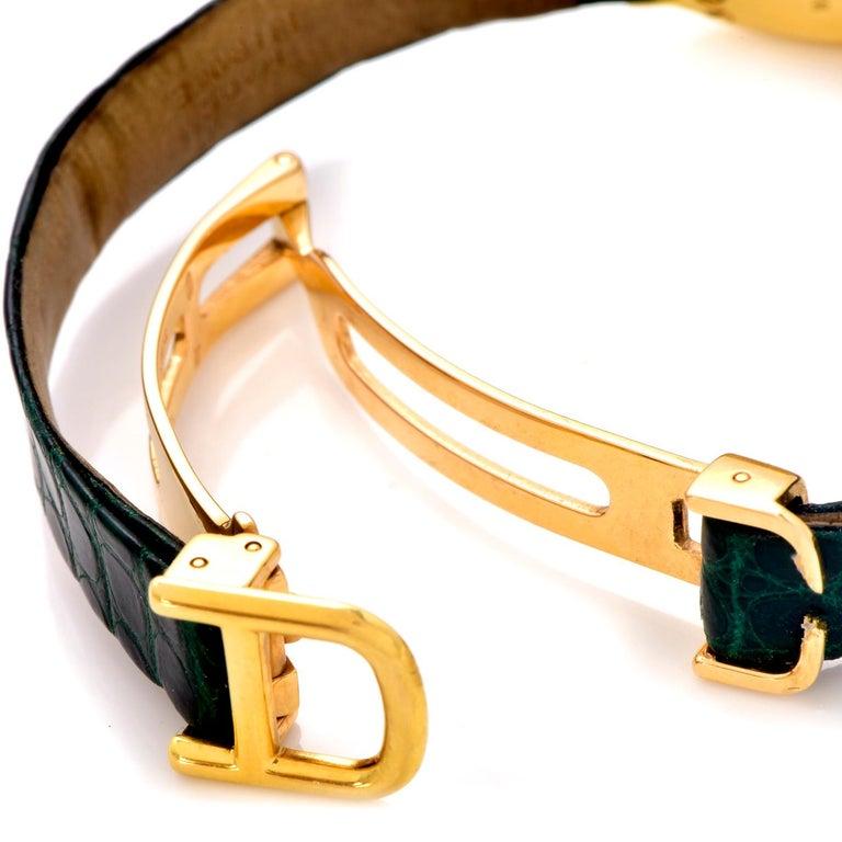 Women's Cartier Montre Baignoire Diamond 18K Gold Vintage Ladies Watch For Sale