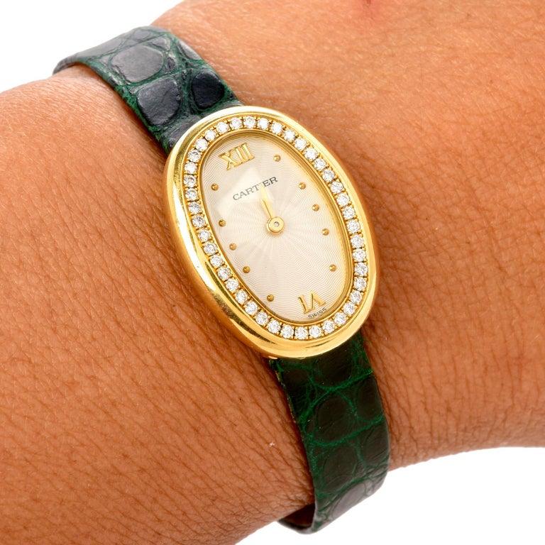 Cartier Montre Baignoire Diamond 18K Gold Vintage Ladies Watch For Sale 1