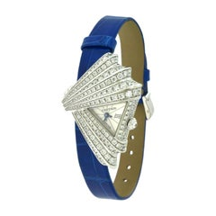 Cartier Montre Froissée Ref. 3081 Fan-Shaped Diamond Watch in White Gold