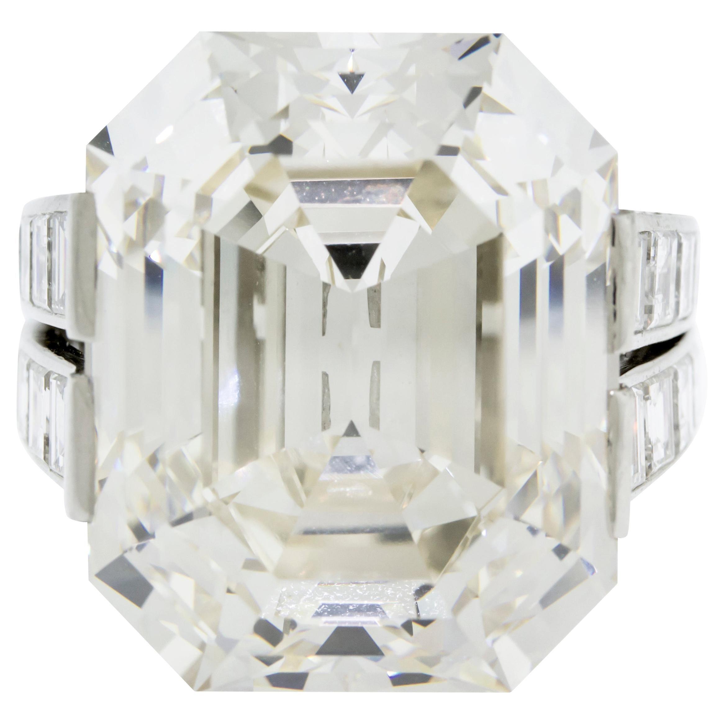 Cartier Monture 30.03 Carat GIA Certified Emerald Cut Diamond Engagement Ring