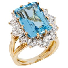 Cartier Monture Vintage Aquamarine and Diamond Ring