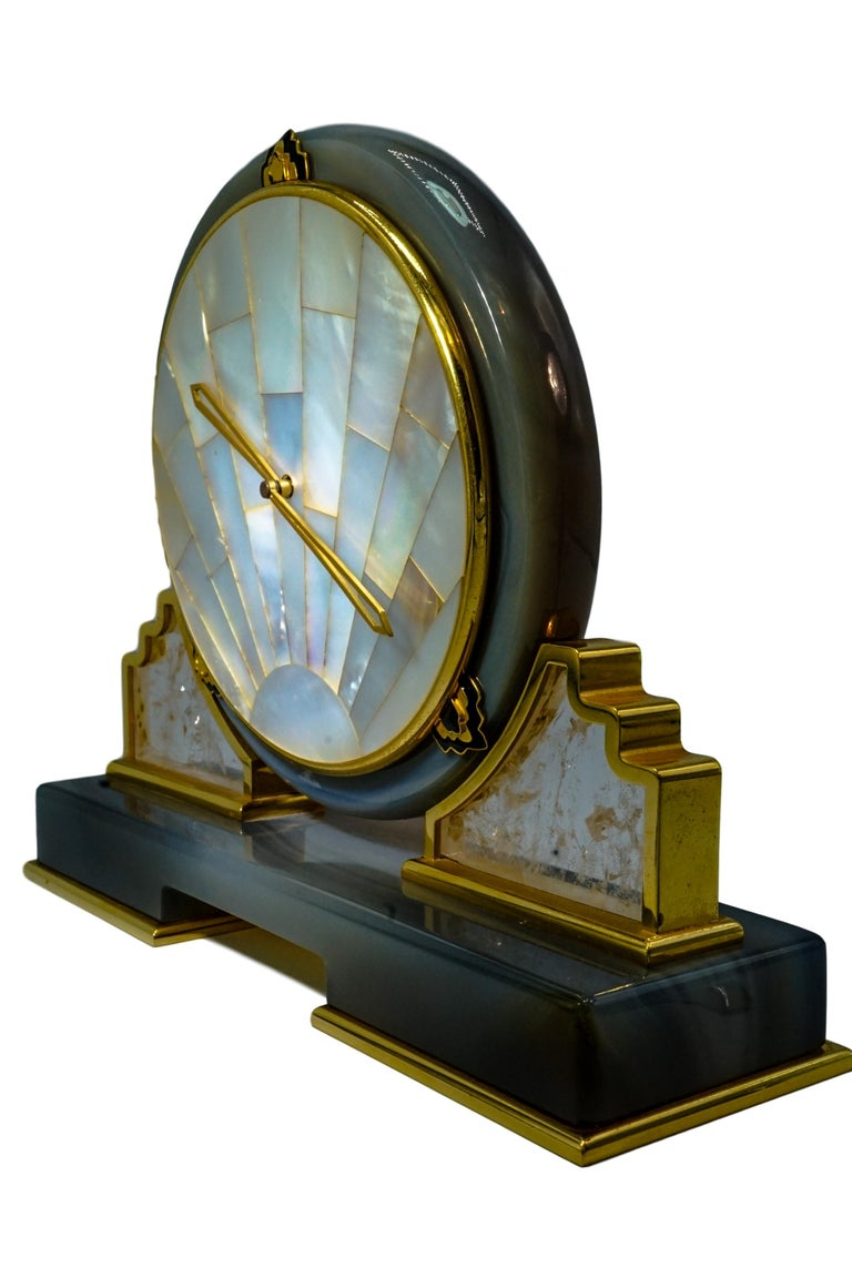 Retro Cartier Mother of Pearl, Rock Crystal and Agate Desk Clock For Sale