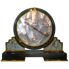 Cartier Mother of Pearl, Rock Crystal and Agate Desk Clock