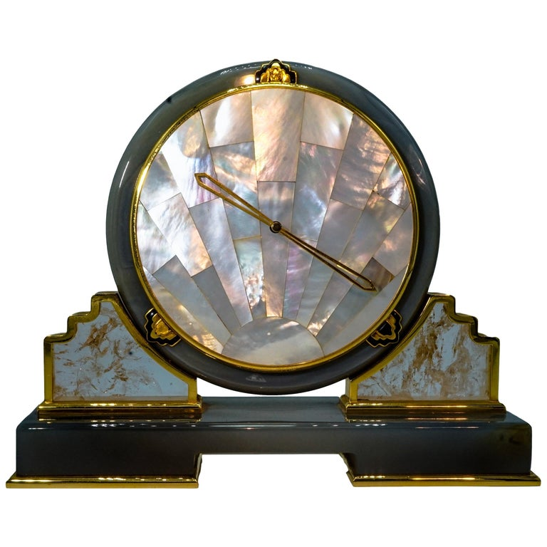 Cartier Mother of Pearl, Rock Crystal and Agate Desk Clock For Sale