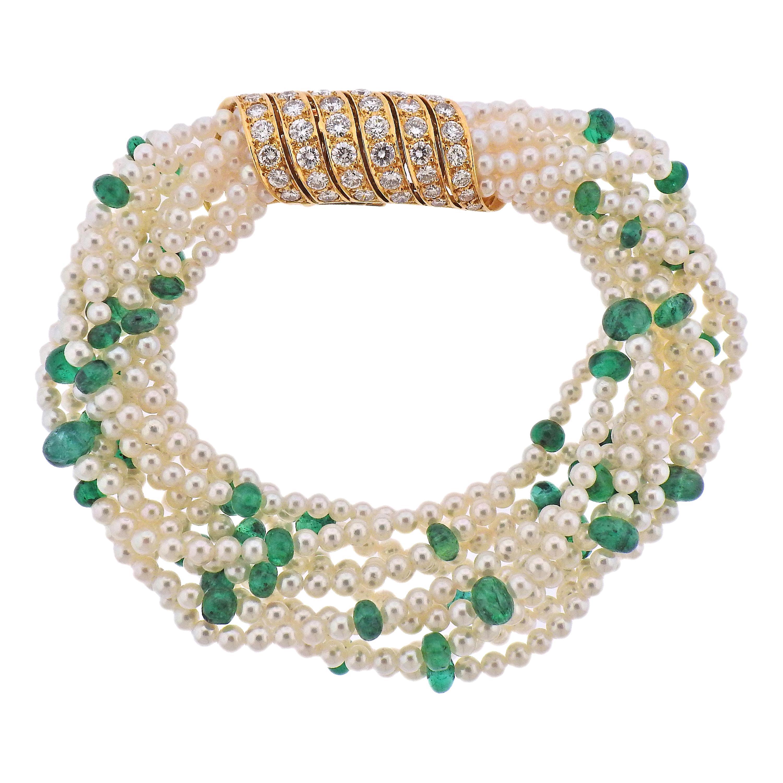 Cartier Multi Strand Pearl Emerald Diamond Gold Bracelet