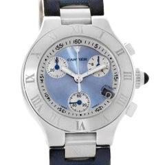 Cartier Must 21 Blue Dial Chronoscaph Ladies Watch W1020013