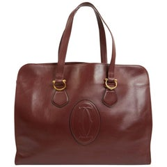CARTIER Must Burgundy Tote Bag In Vintage Box Leather