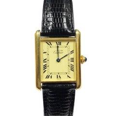 Cartier Must De Cartier Classic Vermeil Tank Quartz Wristwatch