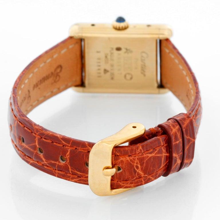 Cartier Must de Cartier Gold Plaque Ladies Quartz Watch 590004 In Excellent Condition In Dallas, TX