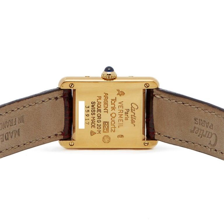 Cartier Must de Cartier Tank  Ladies Yellow Gold Paris Watch For Sale 2