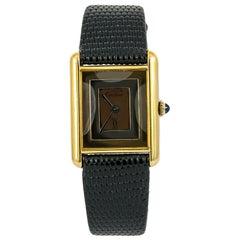 Cartier Must De Tank Women Watch Mechanical Hand Wind 925 Gold Plated