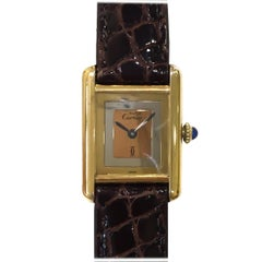 Cartier Must Tank Mechanical Tri-Tone Dial Yellow Vermeil Watch on Leather Strap