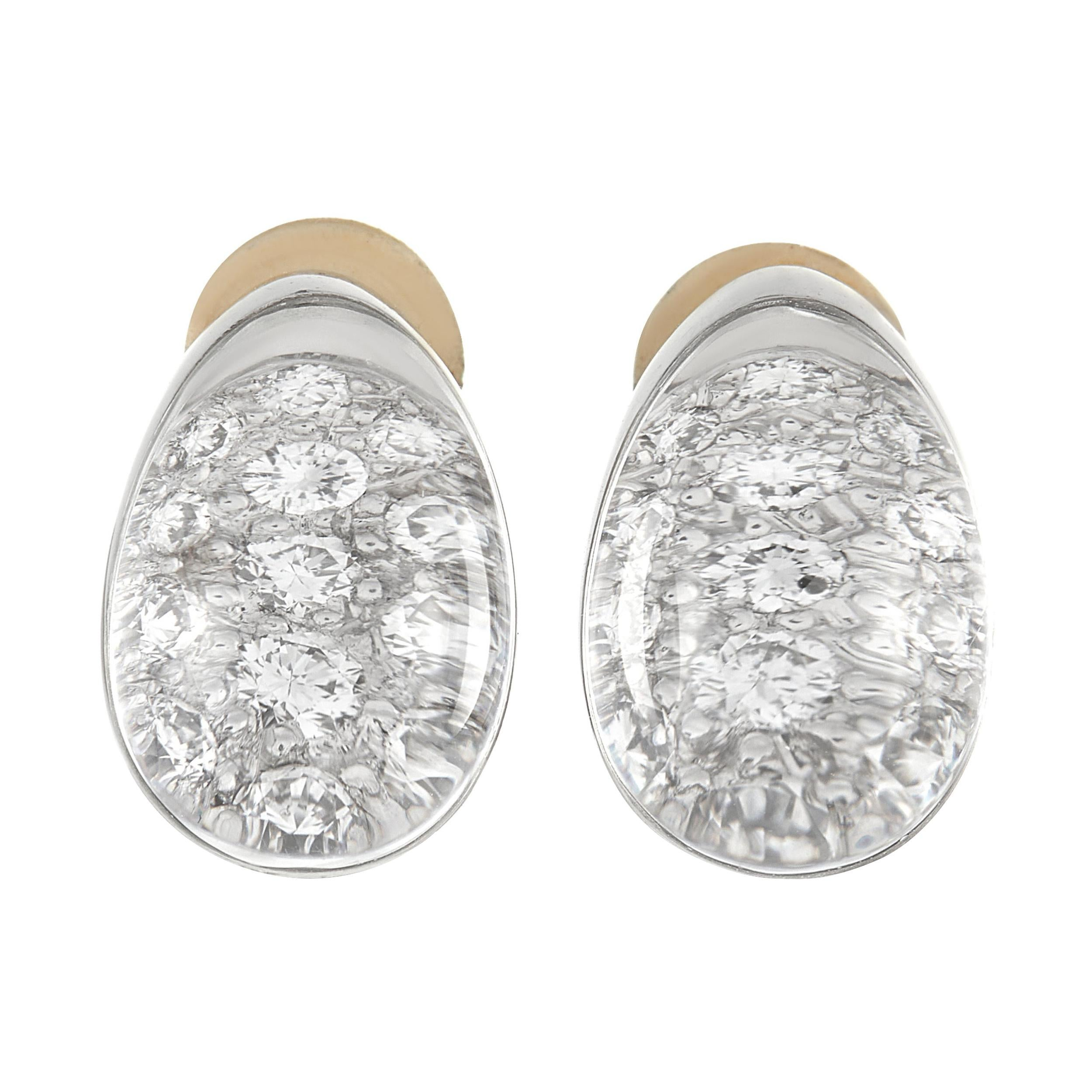 Cartier Myst 18K White Gold Diamond and Crystal Clip On Earrings