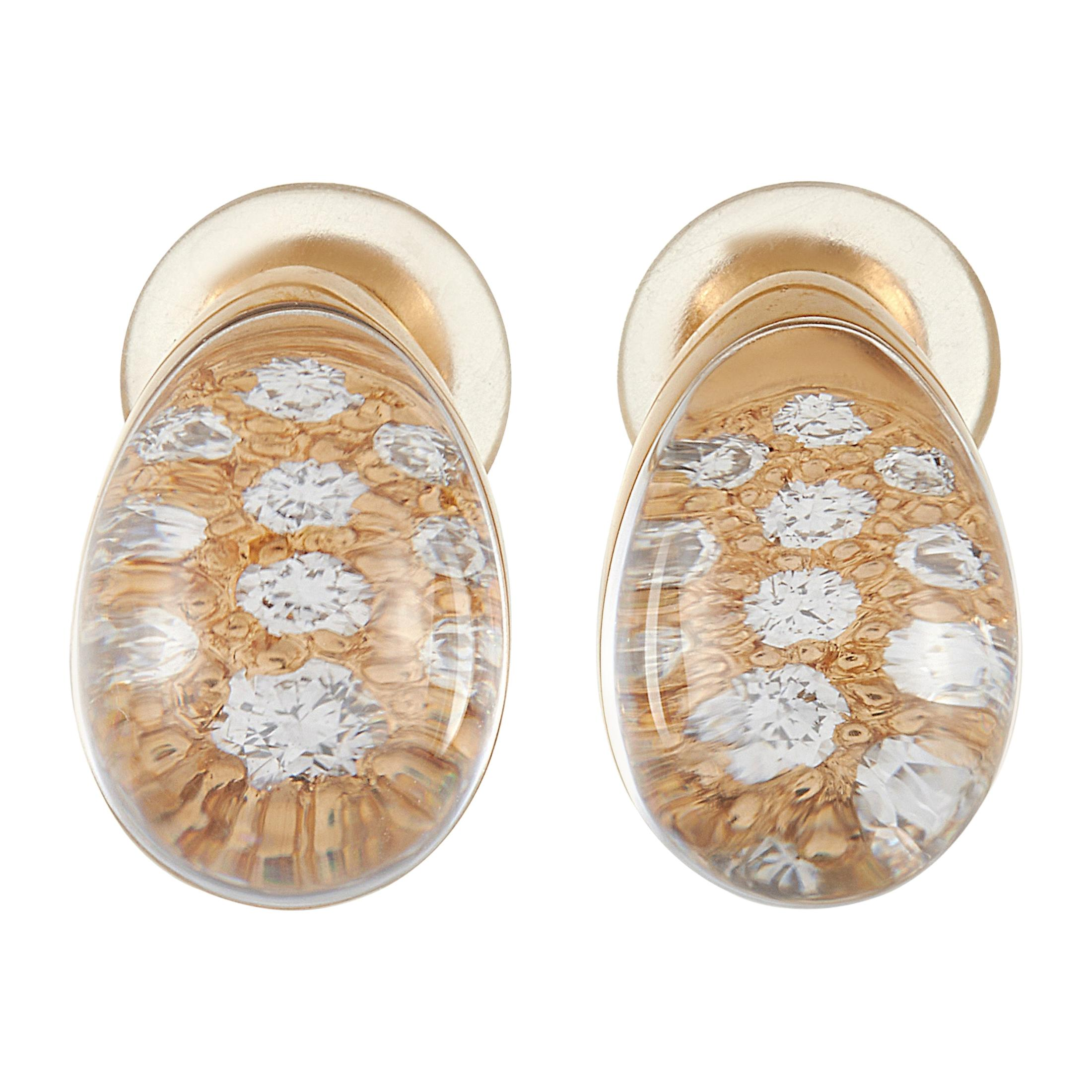 Cartier Myst 18k Yellow Gold Diamond and Rock Crystal Clip-On Earrings