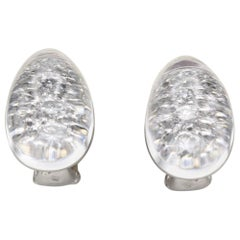 Cartier Myst Rock Crystal Diamond 18 Karat White Gold Dome Earring