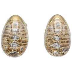 Cartier Myst Rock Crystal Diamond 18 Karat Yellow Gold Dome Earring