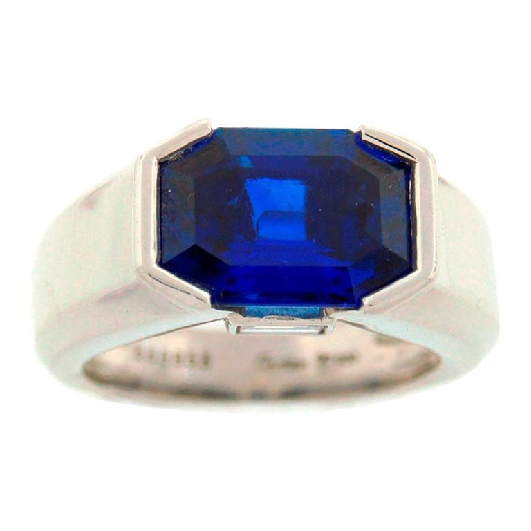Cartier Natural Sapphire Diamond Platinum Ring