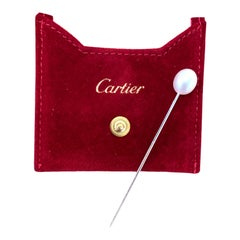Cartier Natural White Oval Pearl Platinum Vintage Stick Pin GIA Certified
