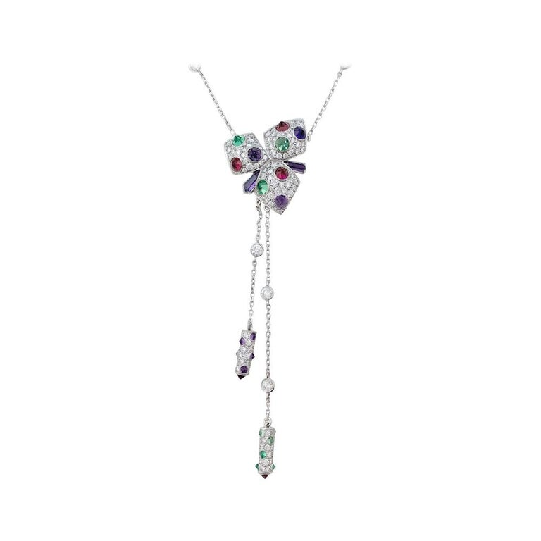 """Cartier Necklace, """"Caresse d'Orchidée"""" White Gold, Diamonds and Precious Stones"""
