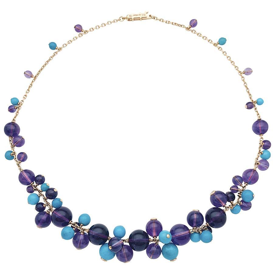 """Cartier Necklace """"Délices de Goa"""" Collection, Amethysts, Turquoises and Diamonds"""