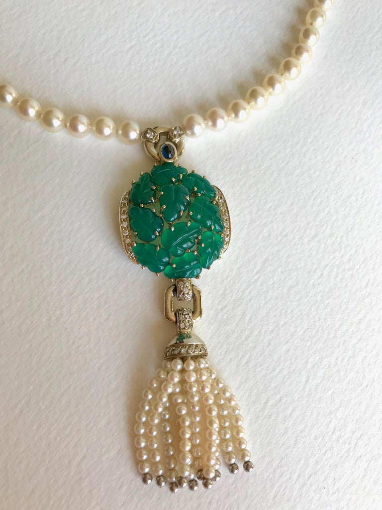Cartier Necklace in Pearls and Chrysoprases In Good Condition For Sale In Paris, FR