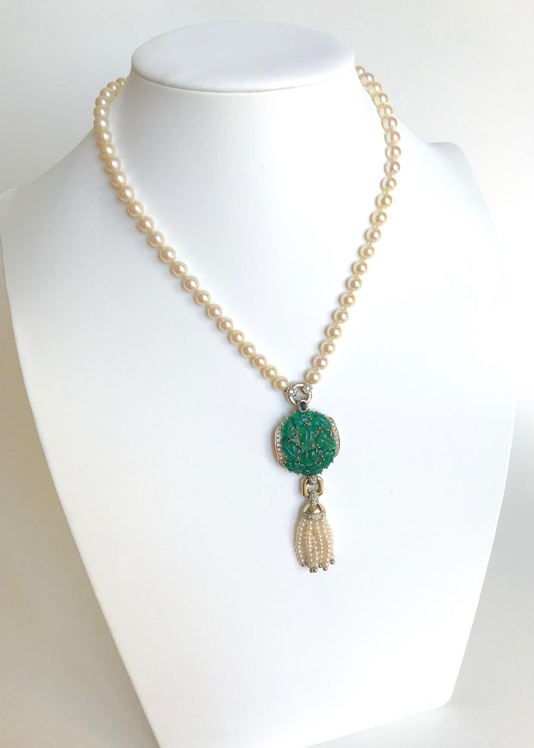 Cartier Necklace in Pearls and Chrysoprases For Sale 3