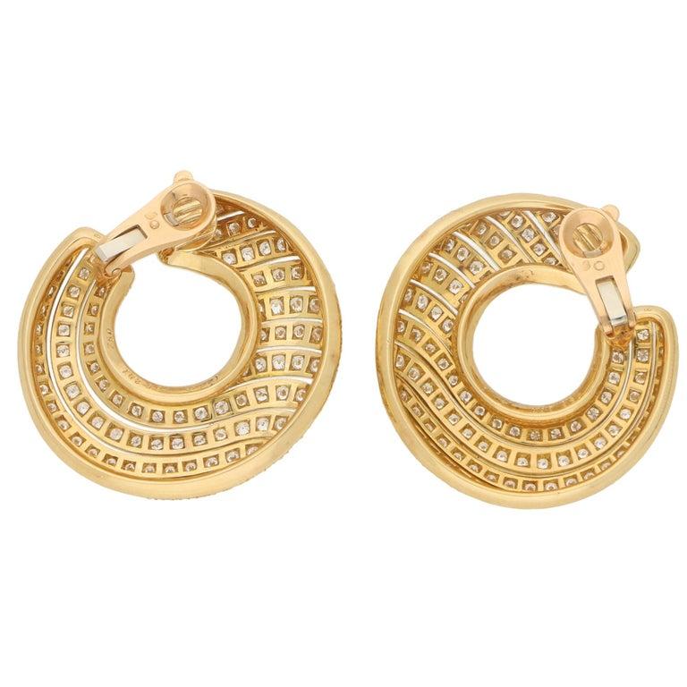 Retro Cartier Neptune Diamond Hoop Clip-On Earrings in 18 Karat Yellow Gold For Sale