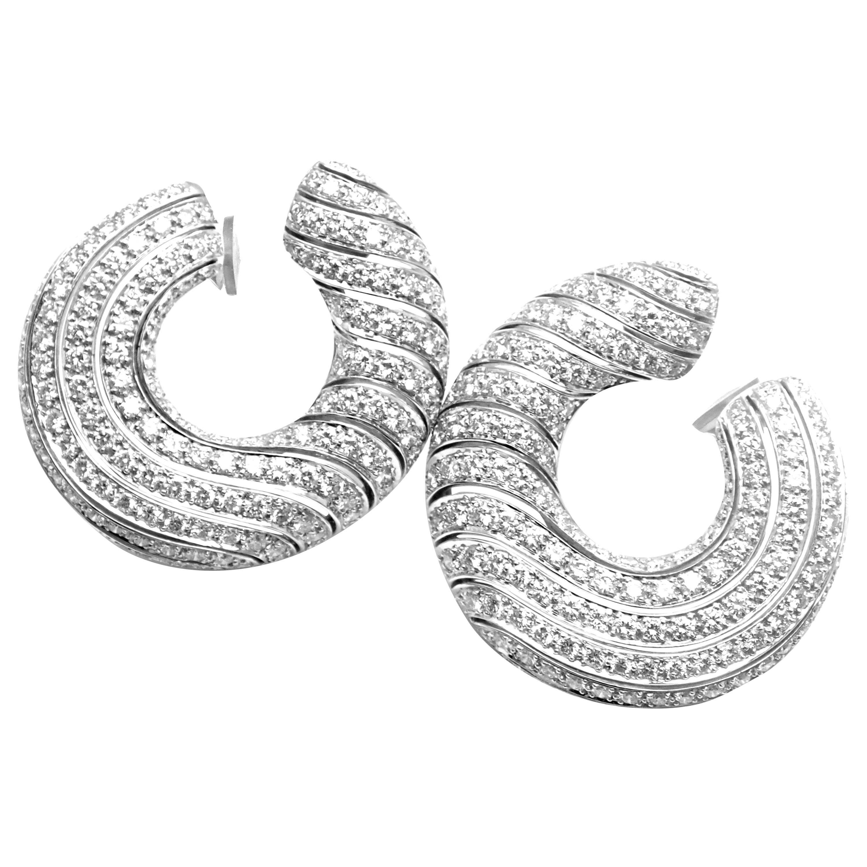 Cartier Neptune Diamond Large White Gold Hoop Earrings