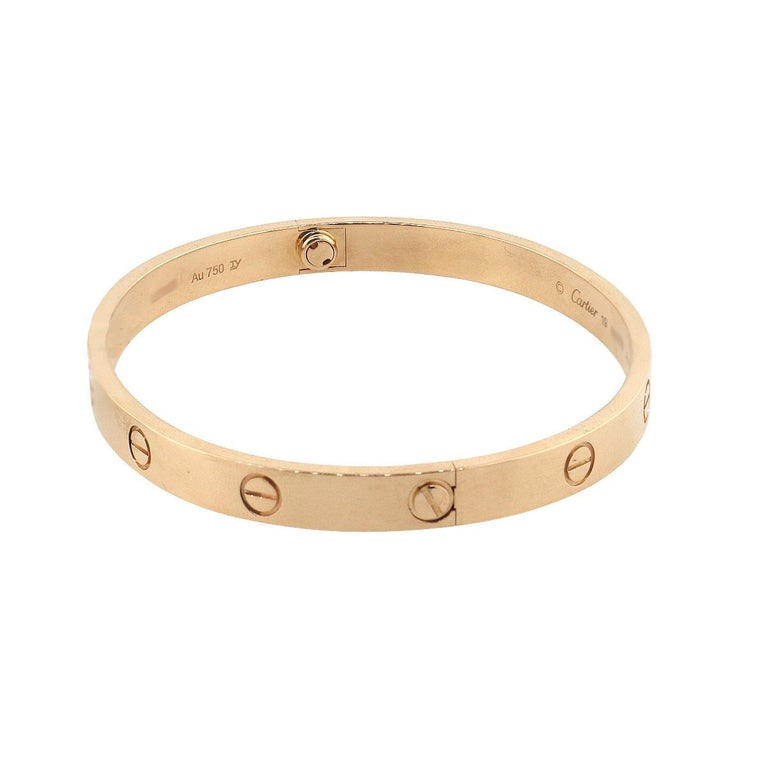Designer: Cartier Material: 18k Rose Gold Style: New Style Love Bangle Bangle Size: Cartier size 19 Total Weight: 35.8g (23dwt) Additional Details: This item includes Cartier papers and Cartier screwdriver! SKU: G9580