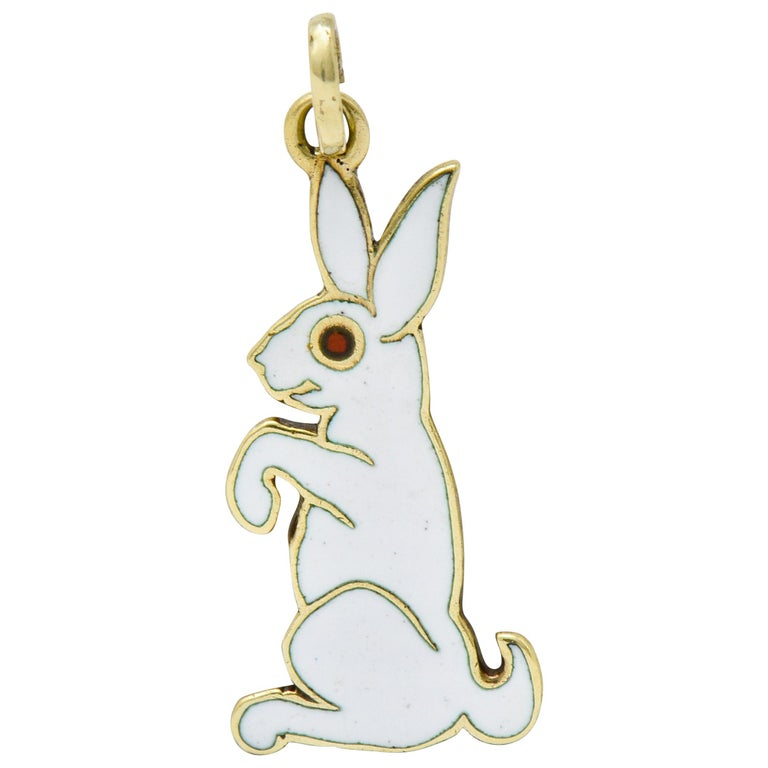 Cartier New York Art Deco Enamel 14 Karat Gold Rabbit Charm For Sale