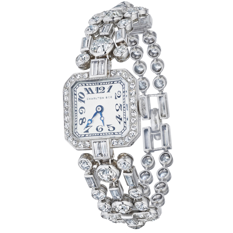 Cartier New York, Charlton & Co. Art Deco Diamond Wristwatch