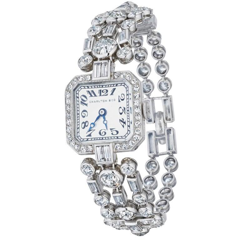 Cartier New York, Charlton & Co. Art Deco Diamond Wristwatch For Sale