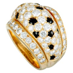 Cartier Nigeria Diamond and Onyx Pave Yellow Gold Wide Band Ring
