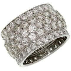 Cartier Nigeria Diamond White Gold Wide Dome Band Ring