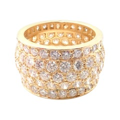 Cartier Nigeria Diamond Wide Yellow Gold Band Ring