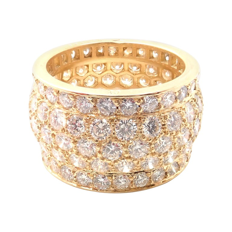 Cartier Nigeria Diamond Wide Yellow Gold Band Ring For Sale