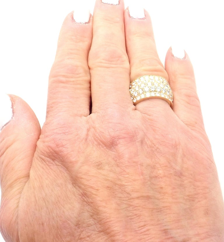 Cartier Nigeria Diamond Wide Yellow Gold Band Ring For Sale 5