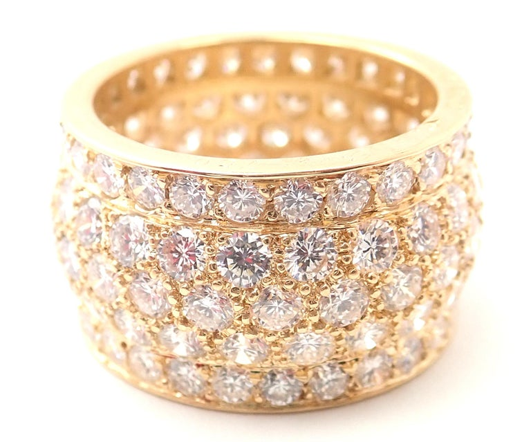 Brilliant Cut Cartier Nigeria Diamond Wide Yellow Gold Band Ring For Sale