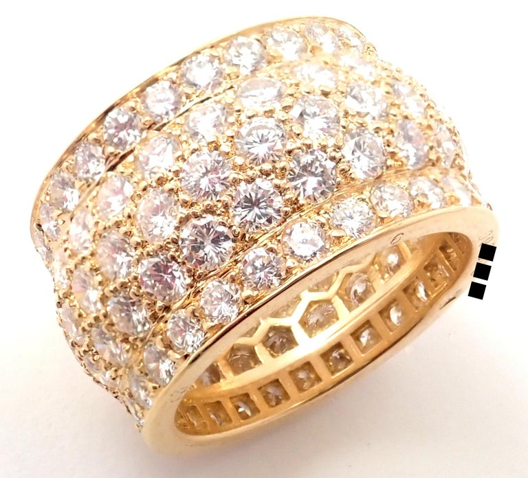 Cartier Nigeria Diamond Wide Yellow Gold Band Ring In Excellent Condition For Sale In Holland, PA