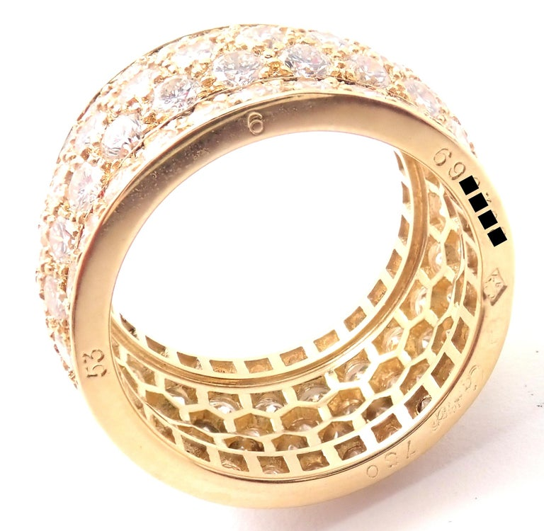 Women's or Men's Cartier Nigeria Diamond Wide Yellow Gold Band Ring For Sale