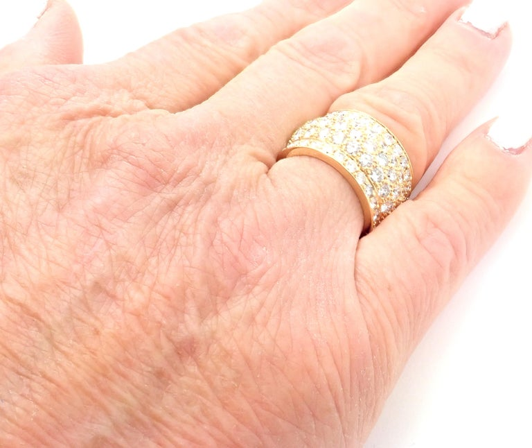 Cartier Nigeria Diamond Wide Yellow Gold Band Ring For Sale 4