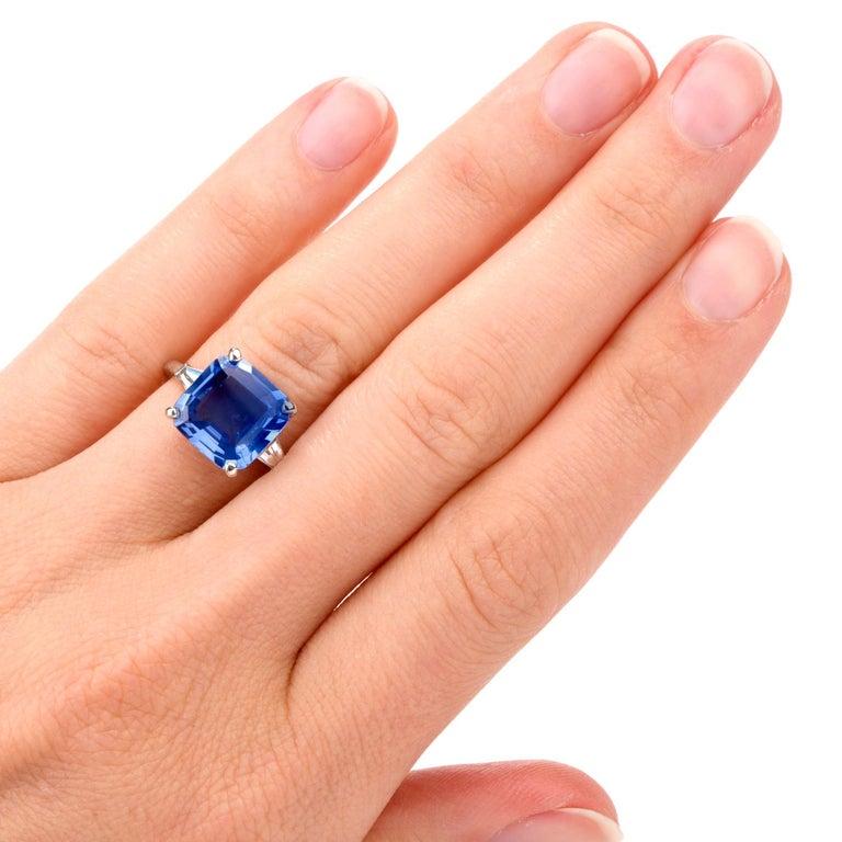 Cartier No Heat Ceylon Natural Sapphire Diamond Engagement Ring, AGL Certified 4