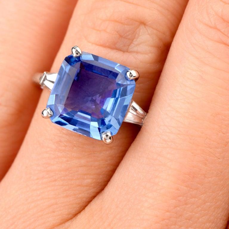 Art Deco Cartier No Heat Ceylon Natural Sapphire Diamond Engagement Ring, AGL Certified