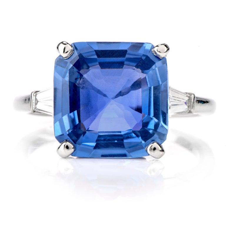 Emerald Cut Cartier No Heat Ceylon Natural Sapphire Diamond Engagement Ring, AGL Certified