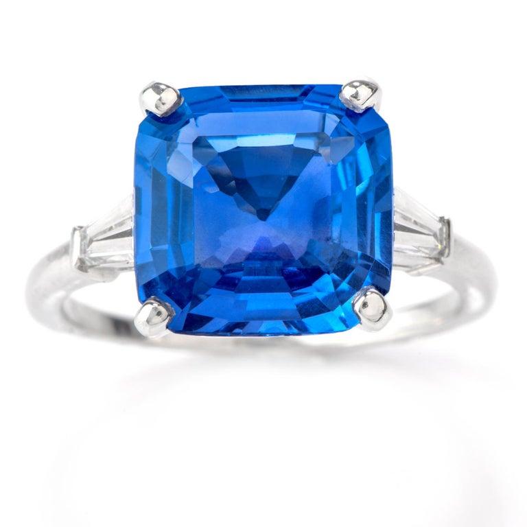 Cartier No Heat Ceylon Natural Sapphire Diamond Engagement Ring, AGL Certified 3